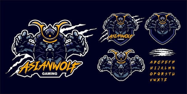 Szablon logo maskotka premium samuraja wilka