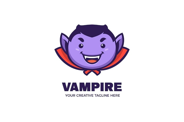 Szablon logo maskotka słodki wampir halloween