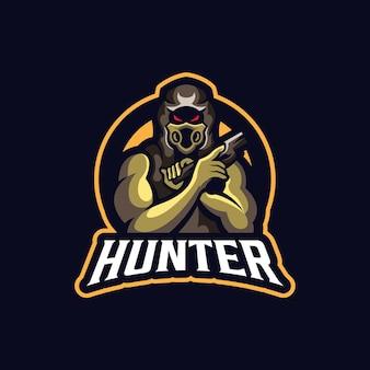 Szablon logo maskotka sport hunter