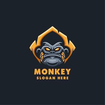 Szablon logo maskotka sport małpa