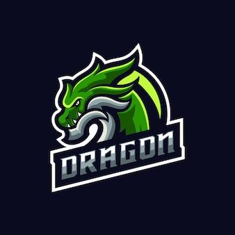 Szablon logo maskotka sport na białym tle zielony smok