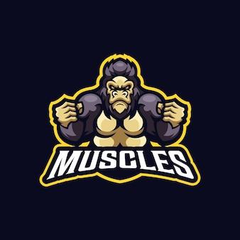 Szablon logo maskotka sportowa mięśni goryla siła zwierząt