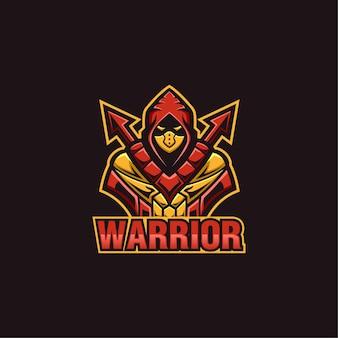 Szablon Logo Maskotka Sportowego Wojownika Premium Wektorów