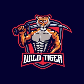 Szablon logo maskotka tygrys