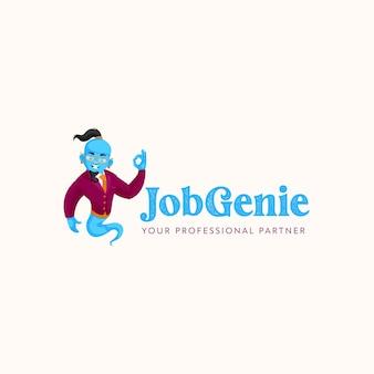 Szablon logo maskotka wektor job genie