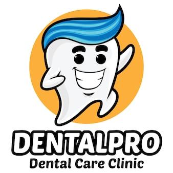 Szablon logo maskotka ząb stomatologicznej kliniki
