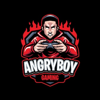 Szablon logo maskotka zły chłopiec
