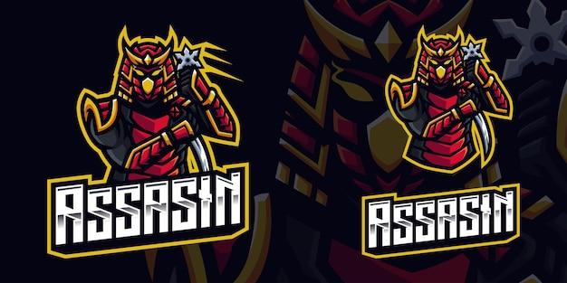 Szablon logo maskotki assasin samurai gaming dla streamera e-sportowego facebook youtube