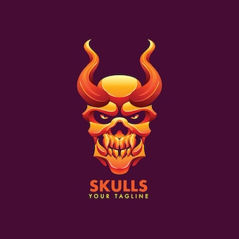 Szablon logo maskotki czaszki dla zespołu logo esport i sport