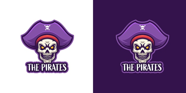 Szablon logo maskotki czaszki pirata