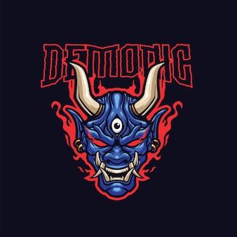 Szablon logo maskotki demona dla zespołu logo e-sportowego i sportowego