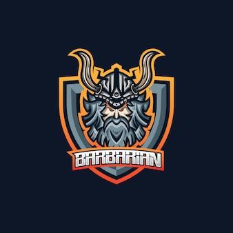 Szablon logo maskotki do gier barbarzyńskich esport dla zespołu streamerów.
