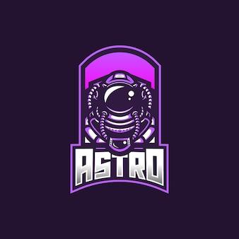 Szablon logo maskotki do gier esport astronauta dla zespołu streamerów.