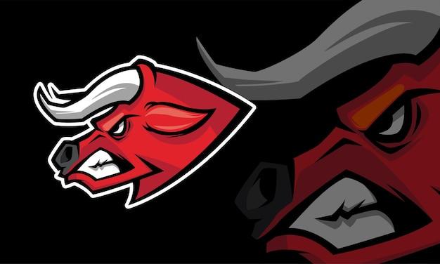 Szablon logo maskotki do gier sportowych buffalo premium wektor
