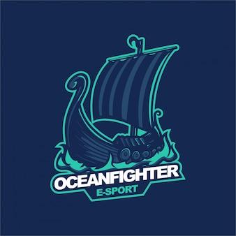 Szablon logo maskotki gier e-sport ocean fighter