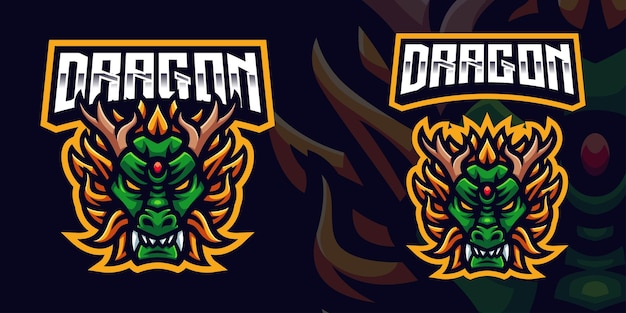 Szablon logo maskotki green dragon gaming dla streamera e-sportowego facebook youtube