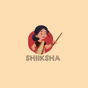 Szablon logo maskotki indyjskiej shiksha