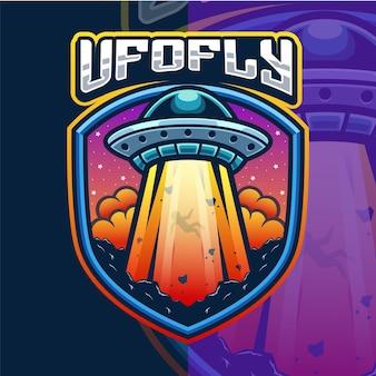 Szablon logo maskotki inwazji ufo
