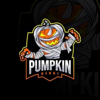 Szablon logo maskotki mumii dyni