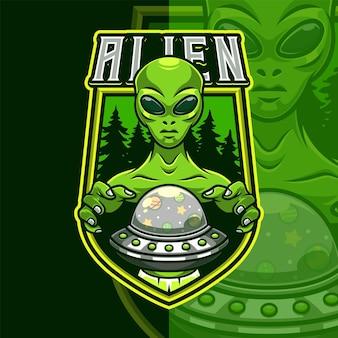 Szablon logo maskotki obcych ufo
