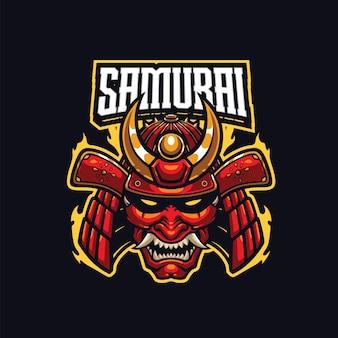 Szablon logo maskotki samuraja dla drużyny esport i logo sportu