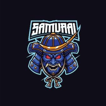 Szablon logo maskotki samuraja wojownika dla zespołu logo e-sportu i sportu