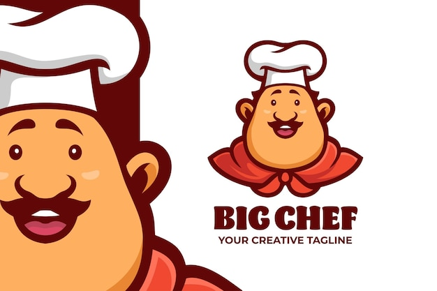 Szablon logo maskotki tłuszczu szefa kuchni