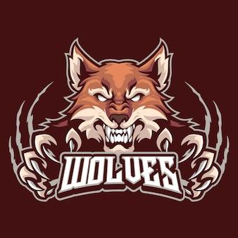 Szablon logo maskotki wilka dla zespołu logo e-sportowego i sportowego