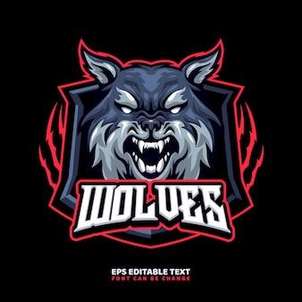Szablon logo maskotki wilka dla zespołu logo esport i sport