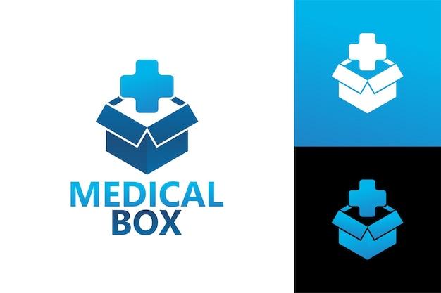 Szablon logo medycznego pudełka wektor premium