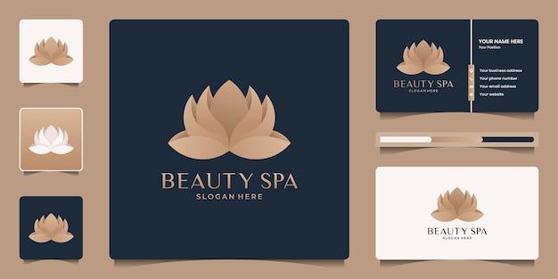 Szablon logo minimalistyczny elegancki kwiat lotosu.