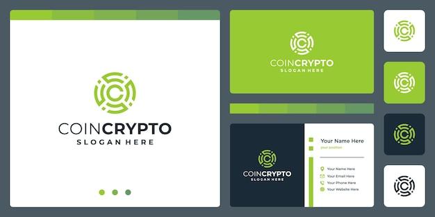 Szablon logo monety kryptowaluty z początkową literą c. wektor cyfrowy pieniądze ikona, łańcuch blokowy, symbol finansowy.