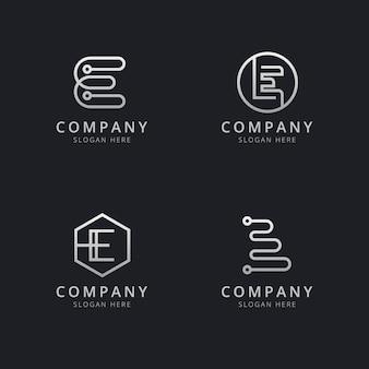 Szablon logo monogram inicjały linii e w kolorze srebrnym dla firmy