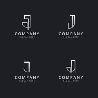 Szablon logo monogram inicjały linii j w kolorze srebrnym dla firmy