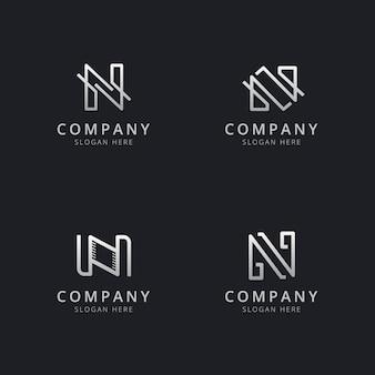 Szablon logo monogram inicjały linii n w kolorze srebrnym dla firmy