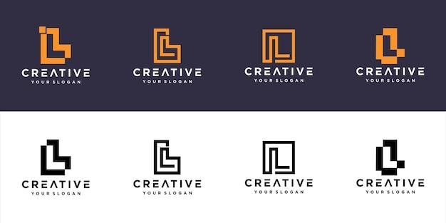 Szablon logo monogram linii l inicjały