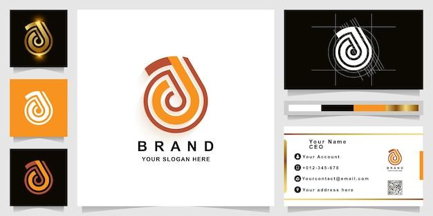 Szablon logo monogram litery a lub aa z projektem wizytówki