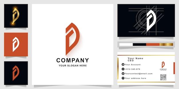 Szablon logo monogram litery a lub d z projektem wizytówki