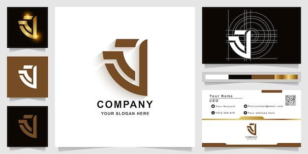 Szablon logo monogram litery a lub j z projektem wizytówki