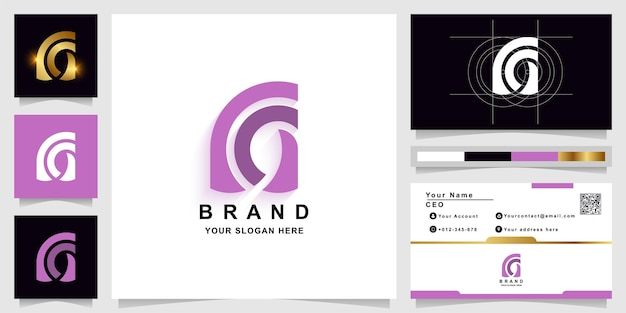 Szablon logo monogram litery a lub m z projektem wizytówki