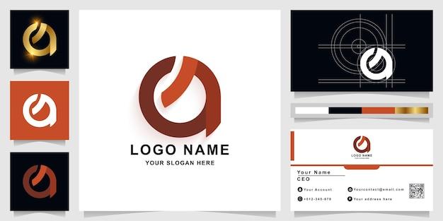 Szablon logo monogram litery a lub q z projektem wizytówki