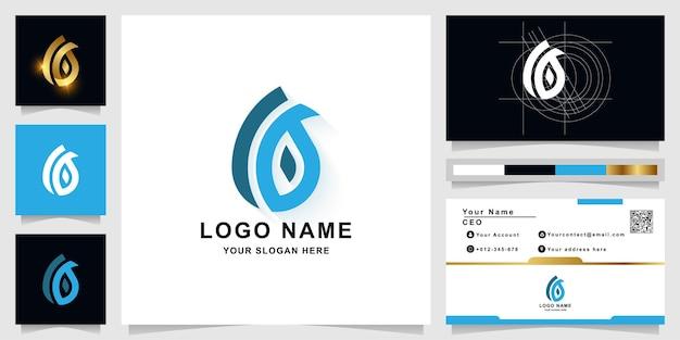 Szablon logo monogram litery a lub upuść wodę z projektem wizytówki