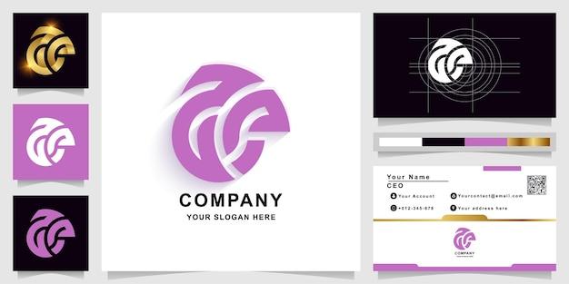 Szablon logo monogram litery aa lub ae z projektem wizytówki