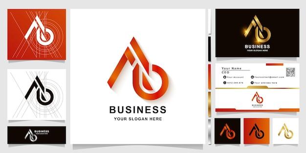 Szablon logo monogram litery ab lub a6 z projektem wizytówki