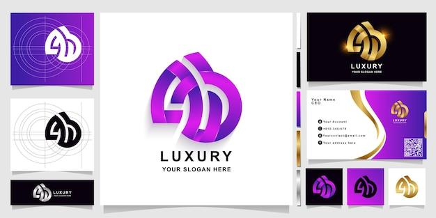 Szablon logo monogram litery ab lub aub z projektem wizytówki