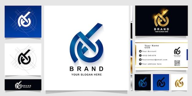 Szablon logo monogram litery ab lub numer 46 z projektem wizytówki