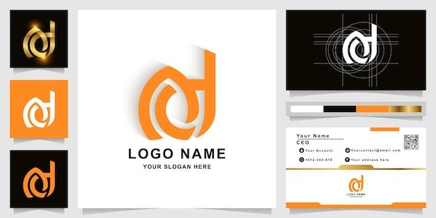 Szablon logo monogram litery ad lub ed z projektem wizytówki