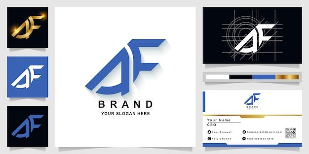 Szablon logo monogram litery af lub ae z projektem wizytówki