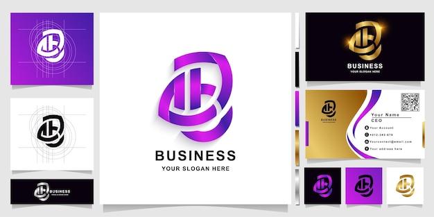 Szablon logo monogram litery b lub ab z projektem wizytówki