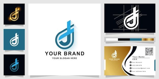 Szablon logo monogram litery d lub dj z projektem wizytówki
